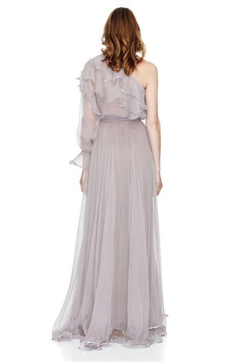 Shoulder Chiffon Dress lavender silk chiffon one shoulder maxi dress pnk casual