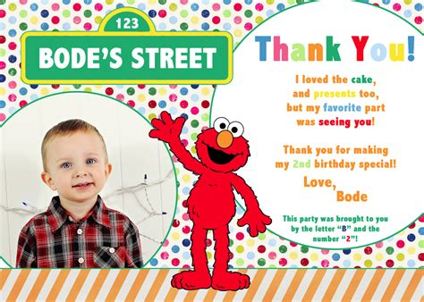 Sesame Thank You Card Template by Sesame 2nd Birthday Invitations Best Ideas