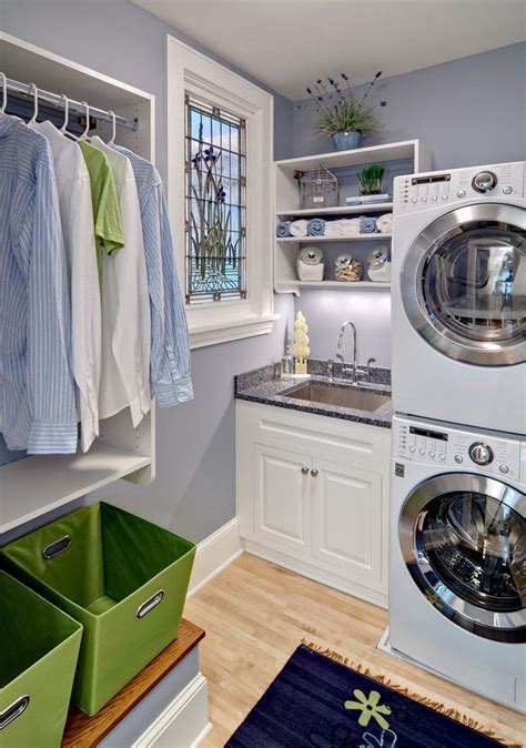 small laundry room ideas stackable washer dryer laundry room traditional with green baskets