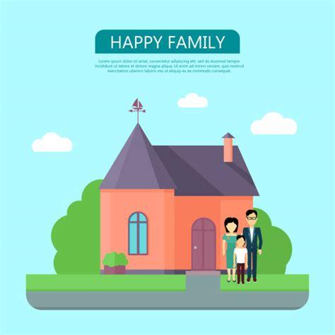cartoon  happy family front house illustrations