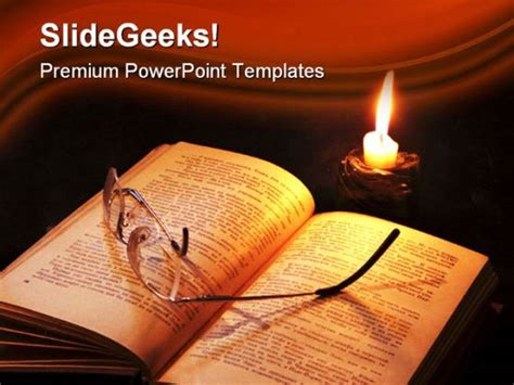 book themes ppt book and candle religion powerpoint template 1110