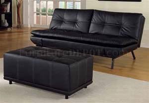 black vinyl modern futon sofa bed w optional matching ottoman
