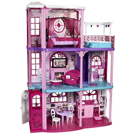 dream barbie doll house barbie dollhouse dream townhouse playset mattel barbie playsets at entertainment