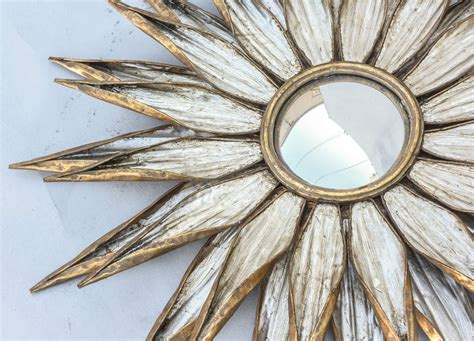gold and silver mirror pair of silver and gold gilded metal convex sunburst