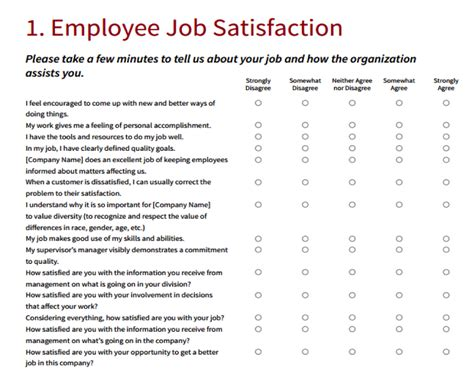 employee satisfaction survey template word employee satisfaction survey template business