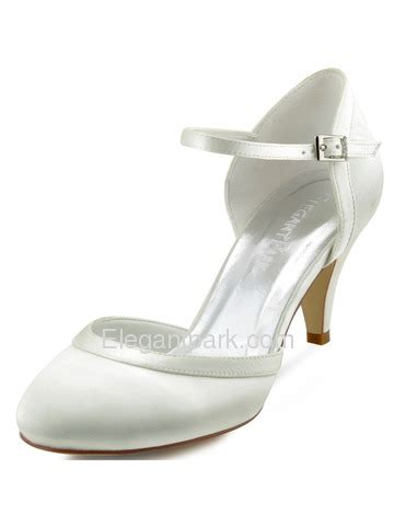 Wedding Shoes Closed Toe Ivory by Elegantpark New White Ivory Satin Closed Toe Kitten Heels