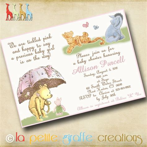Classic Winnie The Pooh Baby Shower Invites by Baby Shower Invitation Classic Pooh By Lapetitegiraffe