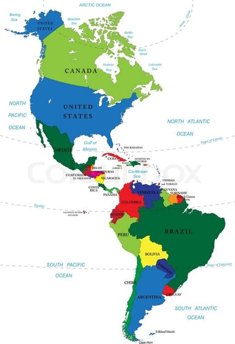 america map of countries highly detailed vector map of and south america with