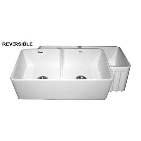 Lowes White Kitchen Sink Shop Whitehaus Collection Farmhaus 18 In X 33 In White Basin Fireclay Apron Front