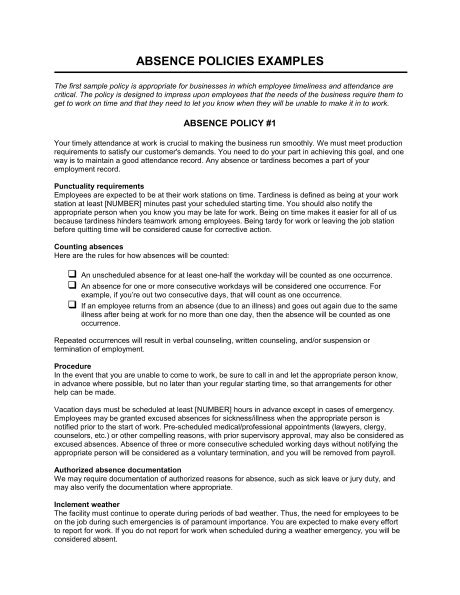 attendance policy template absence policies template sle form biztree