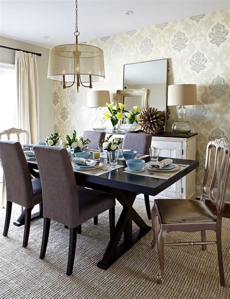 Dining Room Table Accents Uncategorized Accent Chairs And Chandelier Also Damask Wallpaper With Wood Dining Table