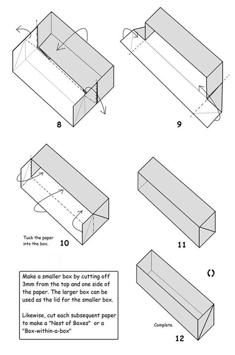 How To Make A Small Rectangular Box Out Of Paper - francis ow s origami diagrams rectangular box
