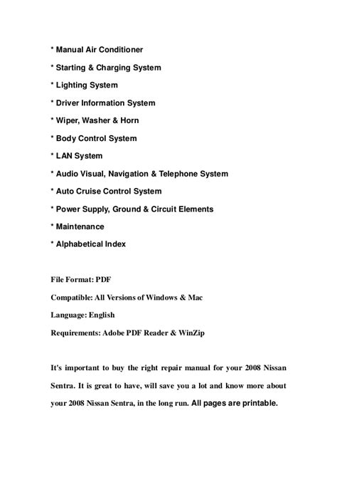 free download parts manuals 2007 nissan sentra instrument cluster 2008 nissan sentra service repair manual download