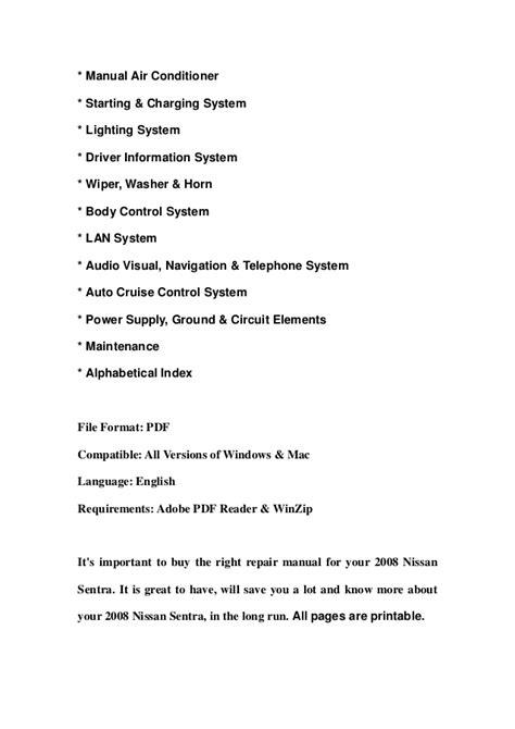 2008 nissan sentra service repair manual download