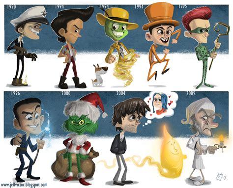 cartoon style evolution of jim carrey characters geektyrant