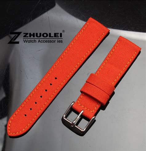 comfortable watch band watch band 18mm 20mm orange nylon canvas durable sport