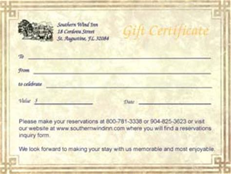 bed and breakfast gift card gift certificates southern wind inn bed and breakfast