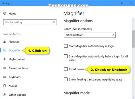 how to invert colors on turn on or invert colors of magnifier window in