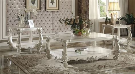 coffee table set beaumont by 3 bone white wood coffee table set by acme jennyo