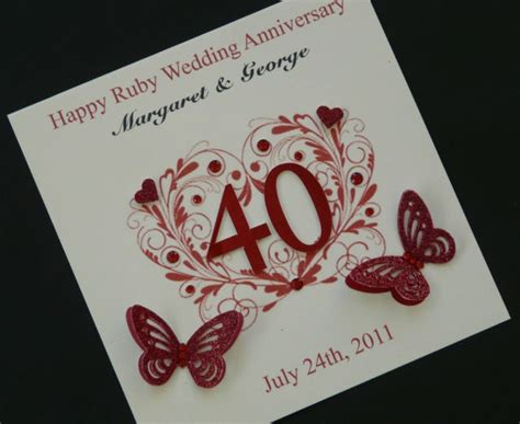 Handmade Ruby Wedding Cards - beautiful personalised handmade ruby wedding anniversary