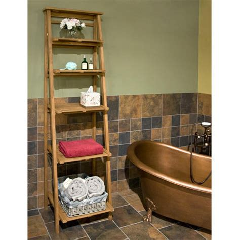 oversized ladder style teak bathroom shelf bathroom