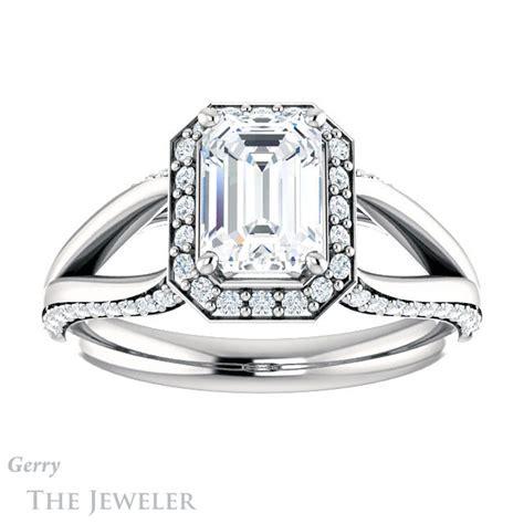 emerald cut engagement ring setting gtj1094 emerald w