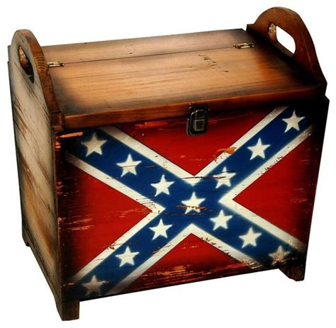 rustic wooden treasure chest rebel flag painting rustic