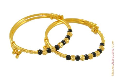 black bangles for baby 22k baby kada with black baba7771 22k yellow