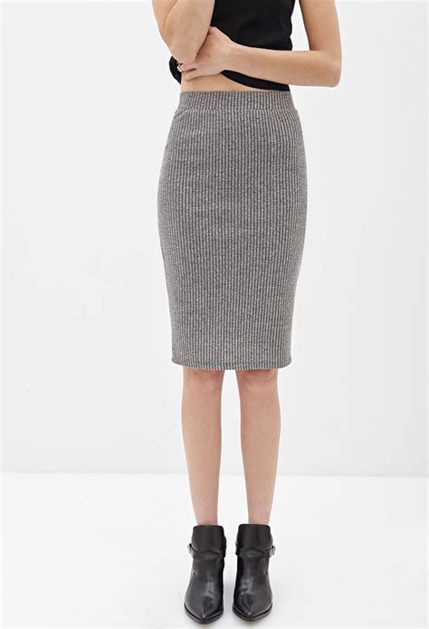ribbed knit skirt forever 21 ribbed knit pencil skirt in gray grey