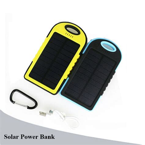 Power Bank Solar Samsung solar power bank 5000mah waterproof solar charger portable powerbank with led external battery