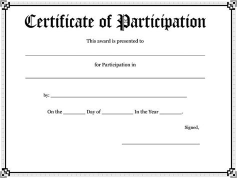 certificate of participation template pdf 10 blank printable blank certificates certificate templates