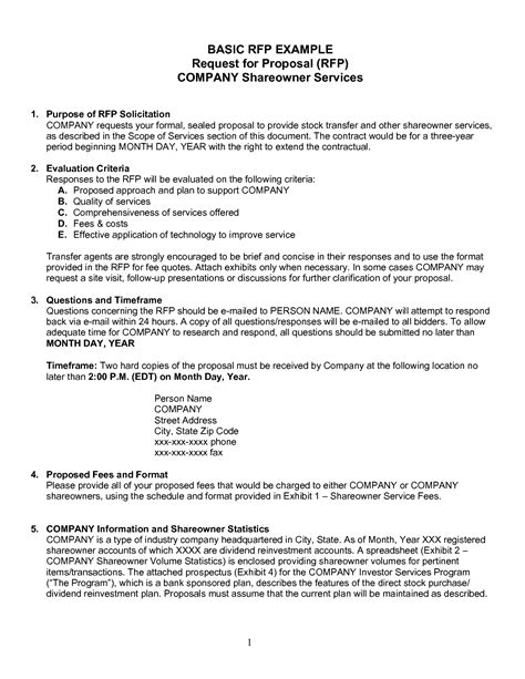 format rfp proposal request for proposal template cyberuse