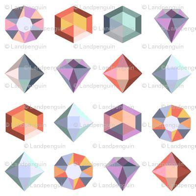 Geometric Gems by White Geometric Gems Fabric Landpenguin Spoonflower