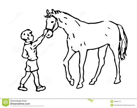 royalty  stock  hand drawn boy  horse image