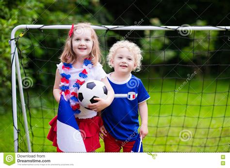 child in french happy kids french football supporters stock image image