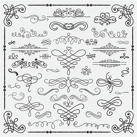 vintage design elements corners vector free vintage hand drawn swirls ornaments with corner vector 01