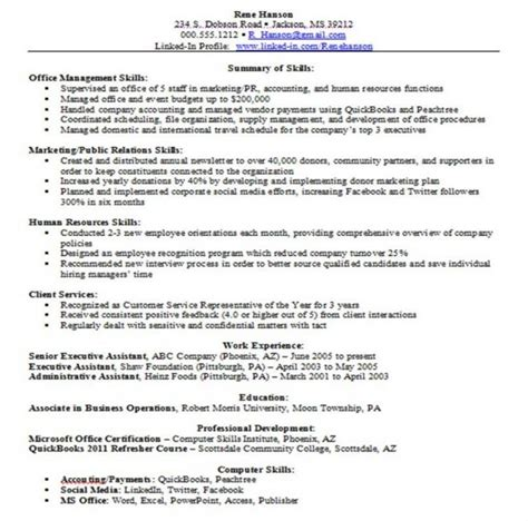 Resume Sle Communication Skills Sle Resume Based On Skills 28 Images Resume Template