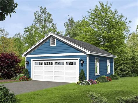 2 car detached garage plan with sized garage door