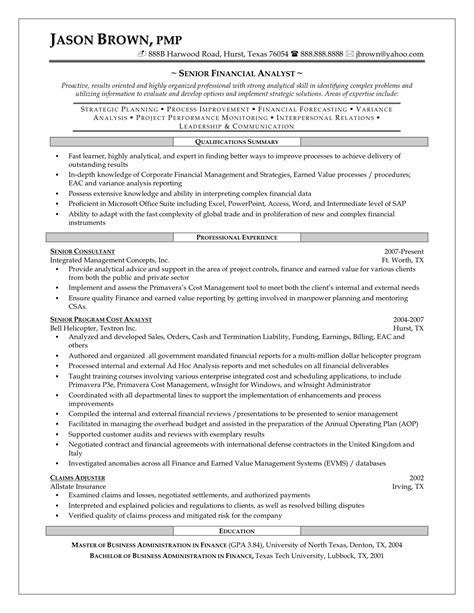 senior financial analyst resume resume template 2017