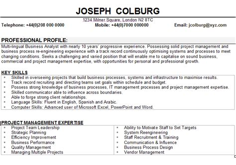 Hr Manager Sample Resume by Business Analyst Cv Sample