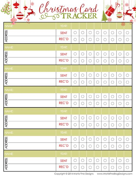 printable christmas card list christmas card tracker free printable included