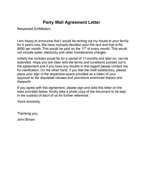 wall agreement letter template wall agreement letter sle free