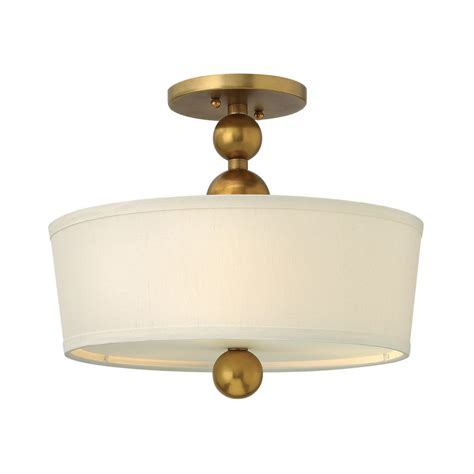 Ceiling Light With White Drum Shade In Vintage Brass White Drum Ceiling Light