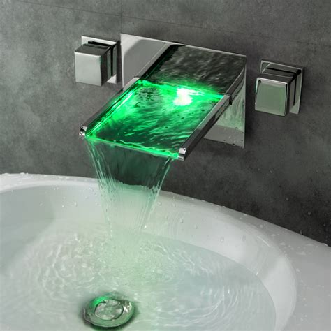 lighted bathroom faucets koko led lighted waterfall wall mount sink faucet modern