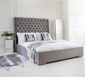 Grey King Size Bed With Mattress Studs And Buttons Grey Upholstered Bed King Size Beds