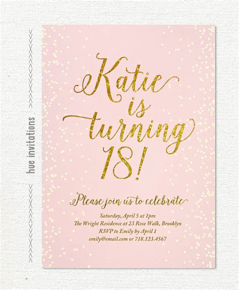 18th invitation templates free pink gold glitter 18th birthday invitation for by