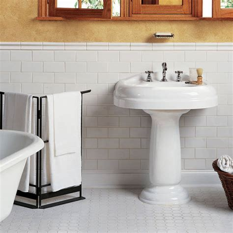 Subway Tile Chair Rail - 34 white hexagon bathroom floor tile ideas and pictures