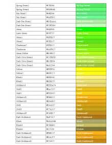 color standards standard html color code chart free
