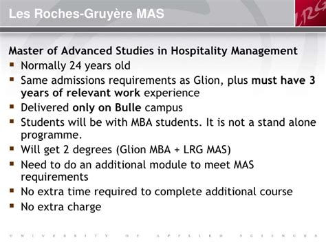 Do Mba Programs Require Work Experience by Les Roches Gruy 232 Re Of Applied Sciences