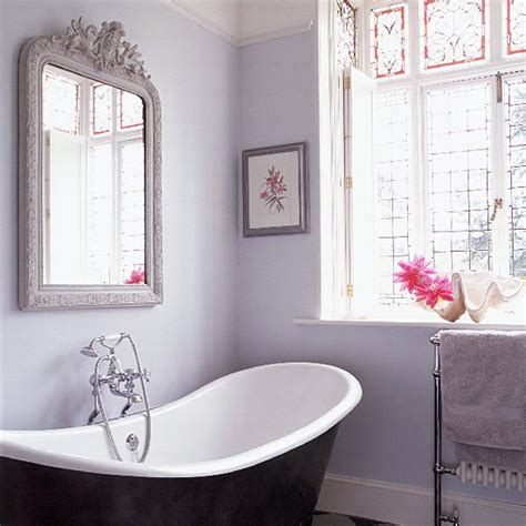lilac grey bathroom with antique mirror housetohome co uk